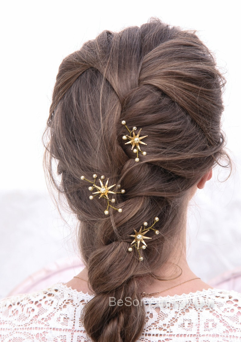 Wedding Hair Pins Star Flower and Champagne Pearl Bridal Hair image 0