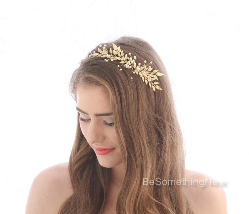 Beaded Headdress Wedding Gold Metal With Grey Beads Soft Tiara Boho Headband Fashion Jewelry