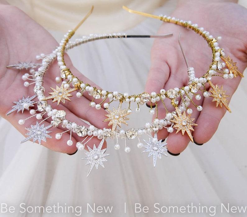 Gold Star Celestial Wedding Crown Rhinestone and Pearl  Headpiece Metal Star Headband Boho Wired Gold Tiara Star Hair Jewelry