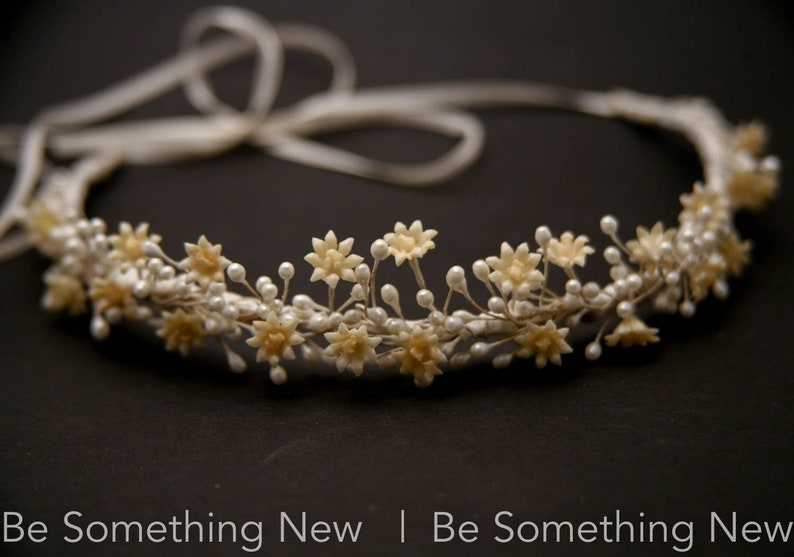 Vintage Wax Flower Crown Small Antique Wax Flower Daisy and Pearl Pip Halo Wreath Ivory Wedding Headpiece
