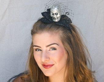 Costume Accessories Glitter skull fascinator. Halloween costume, Halloween accessory hair, Adult Skull Halloween Headband