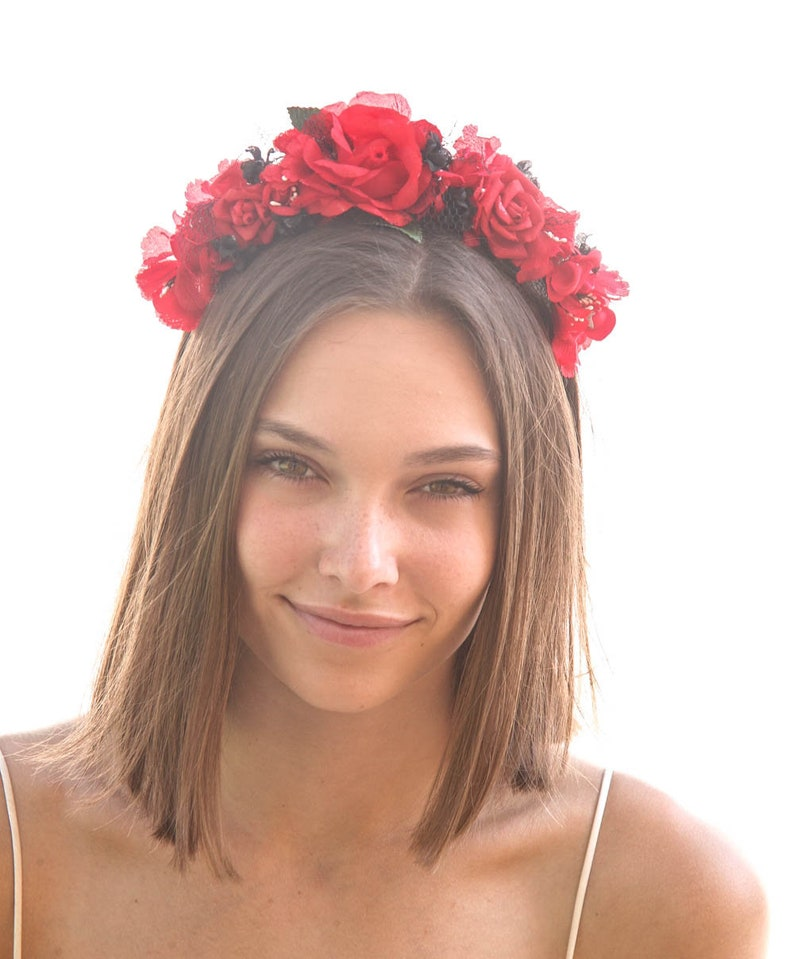 Day Of the Dead Headband Red Roses and Black netting Halloween Hair Accessory Corona de Flores Costume Mexico Mexican Flower Crown