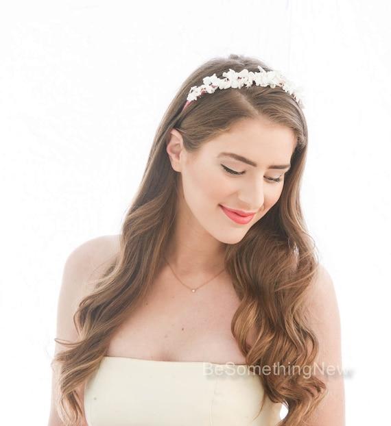 Rebecca Double Vintage Flower Headband Photo Prop Ivory