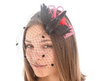 Black Bird Fascinator Halloween Costume, Halloween Hair Acessory with Black Veil The Birds, Bird Costume Accessories