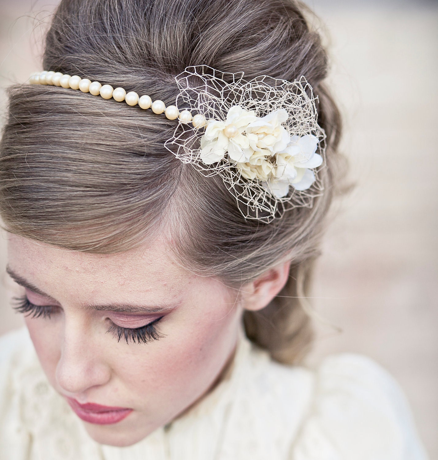 Wedding Hair Vintage Romance Pearl Headband Or Wedding
