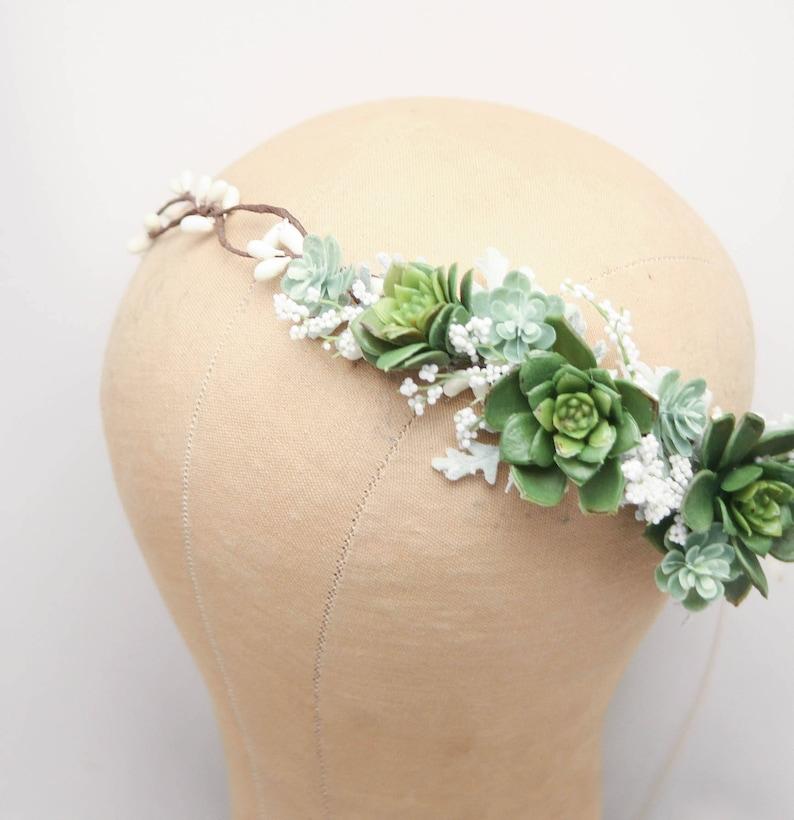 3ea33ca6068 Rustic Succulent Flower Crown Wedding Headband Green Bridal