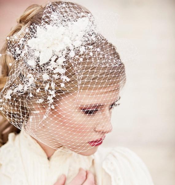 Birdcage Veil with Vintage Flower Spray Veil Wedding Headpiece | Etsy