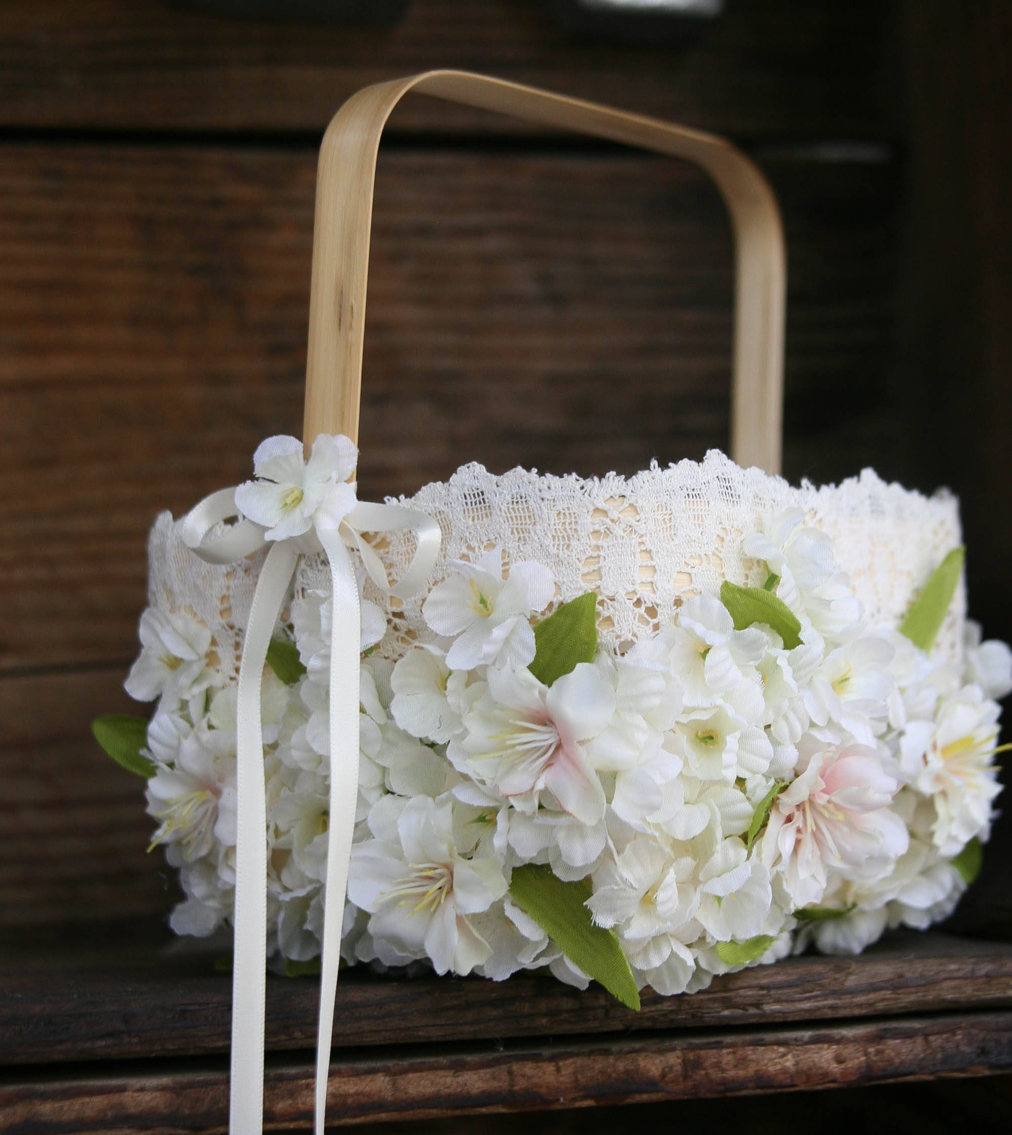 Flower girl basket covered in ivory and blush pink flowers and zoom izmirmasajfo