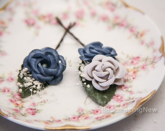 Wedding Hair Bobby Pin Set of Vintage Flowers in Blue and Gray Wedding Hair Accessory, Flower Bobby Pins Vintage Flower Wedding Hair Clips