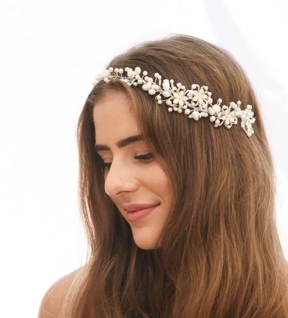 Perlen Hochzeit Haar Rebe Von Vintage Elfenbein Blumen Perlen Etsy