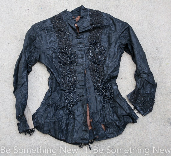 Antique Late 1800s BlackTaffeta Beaded Evening Top