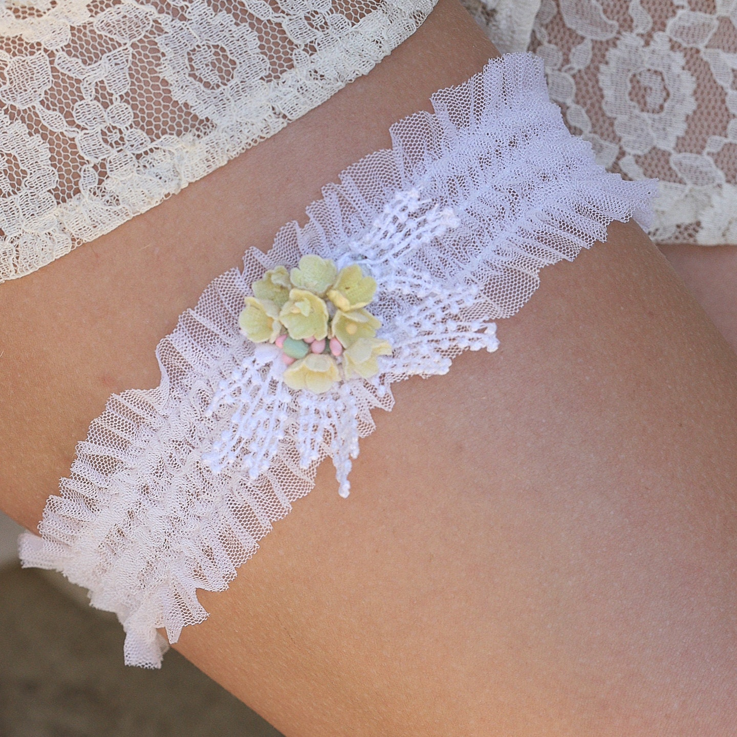 Wedding Lace Garter With Vintage Yellow Flowers Wedding