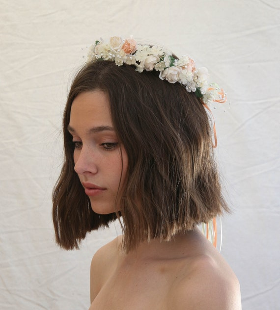 Vintage Flower Crown Flower Girl Halo in Peach and Ivory  8e34906b2d3