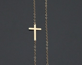 Sideways Cross Necklace in 14kt Yellow Gold - Taylor and Miley Size Extra Small OFF CENTER