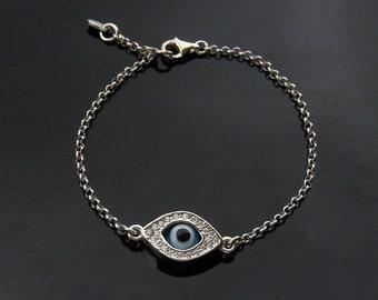 Kelly Ripa  Evil Eye Bracelet in Sterling Silver - Kim Kardashian