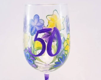 Fifty IS Fabulous Hand Painted Wine Glass