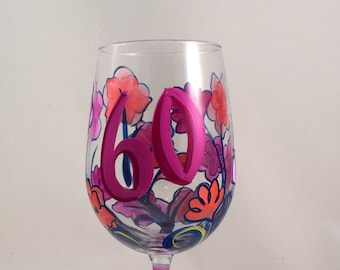 60TH Birthday l Hand Painted White Wine Glass