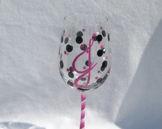 Thanks for being my Bridesmaid - Polka Dot Hand Painted Wine Glass with Initial