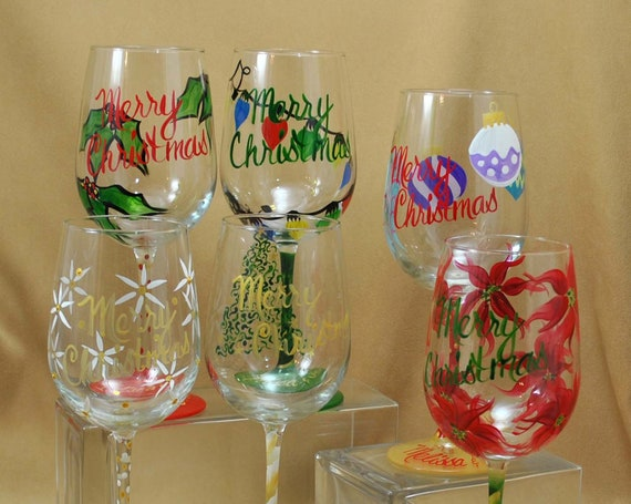Christmas Set of Six Hand Painted Wine Glasses