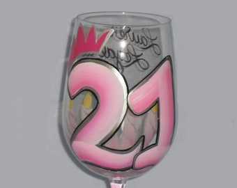 21st Birthday hand painted wine glass