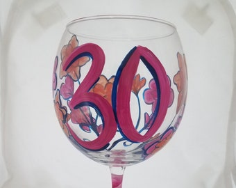 Floral Pattern Hand Painted Wine Glass 30th Birthday