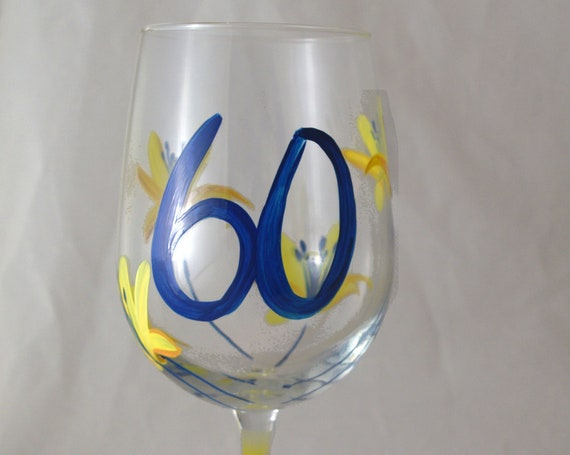 Sixty is Sensational Hand Painted Wine Glass