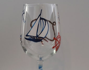 Nautical Theme Personalized Wine Glass