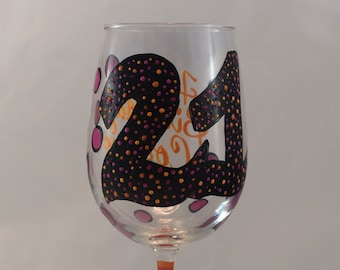 Personalized Hand Painted Wine Glass for 21st Birthday