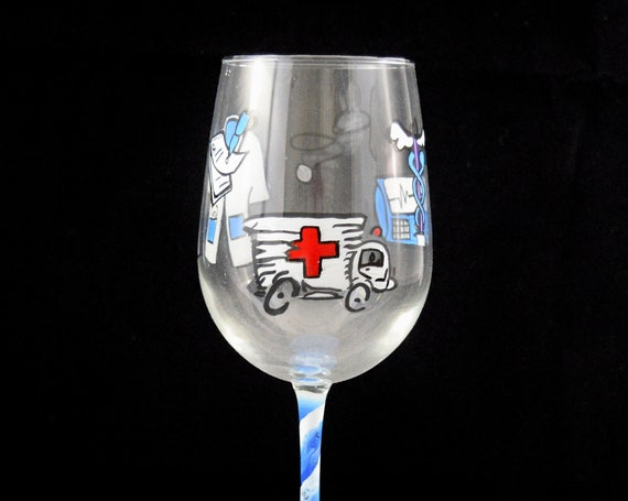 Medical Professional Theme Hand Painted Wine Glass