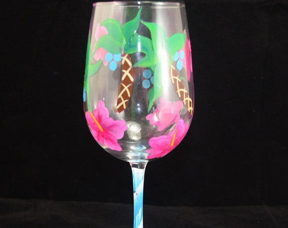Hibiscus and Palm Tree Pattern Hand Painted Wine Glass