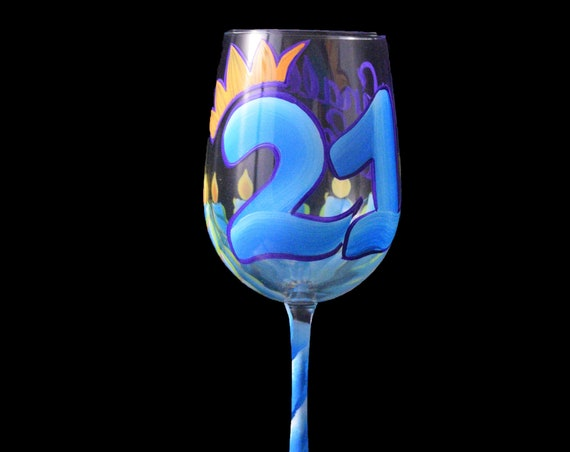 Blue 21st Birthday Hand Painted Wine Glass