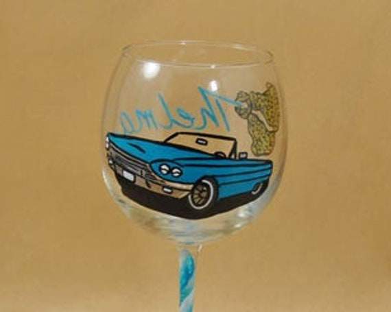 Hand Painted wine Glass with Car