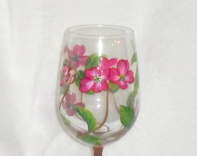 Featured listing image: Dogwood Pattern Hand Painted Wine Glass can be Personalized to make a Special Gift