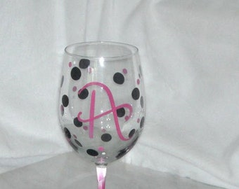 Monogrammed Polka Dot Wine Glasses Make a great Bridesmaid Gift