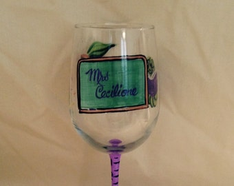 Teacher Theme Hand Painted Wine Glass