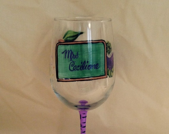 Teacher Theme Hand Painted Wine Glass