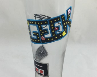 Hand Painted Pilsner Glass for the Classic Video Game Enthusiast