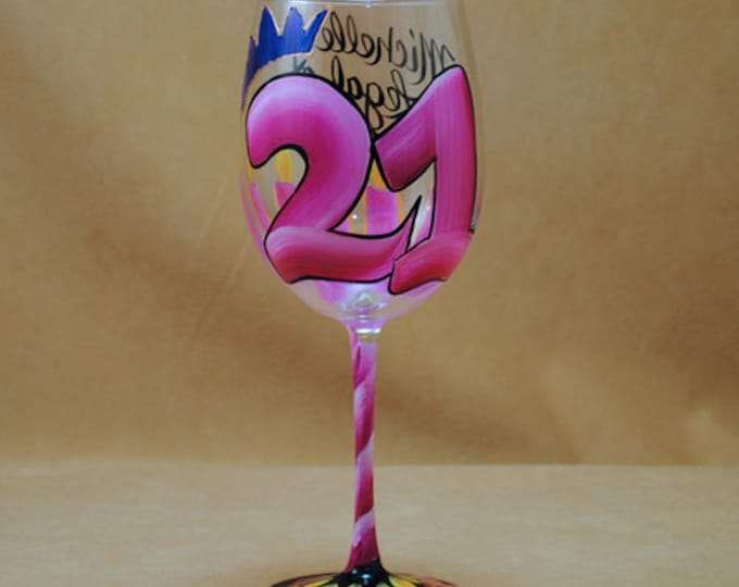 Featured listing image: 21st Birthday Hand Painted Wine Glass