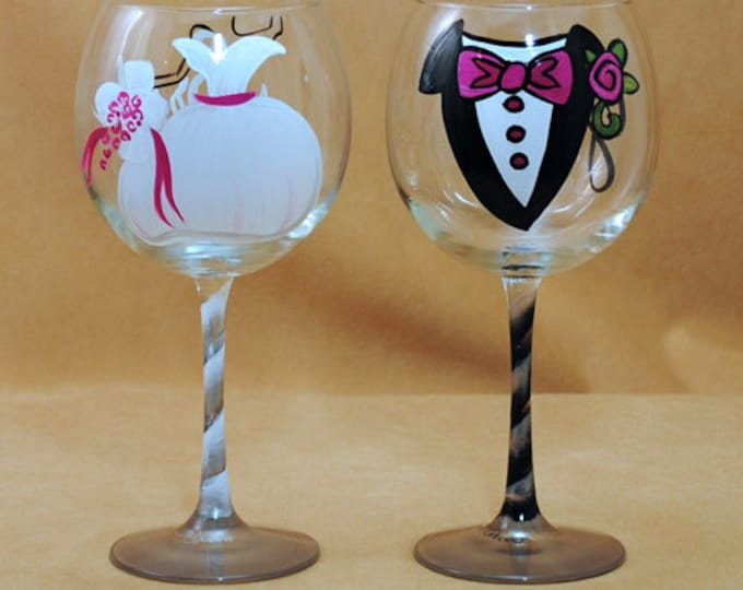 Featured listing image: Tuxedo and Wedding Gown Hand Painted Glasses