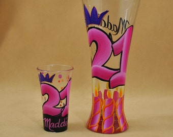 Hand Painted Shot and Beer Glasses for 21st Birthday