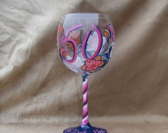 50TH Birthday Floral Hand Painted Red Wine Glass