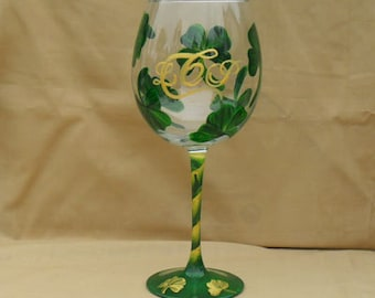 Monogrammed Hand Painted Wine Glass with Shamrocks