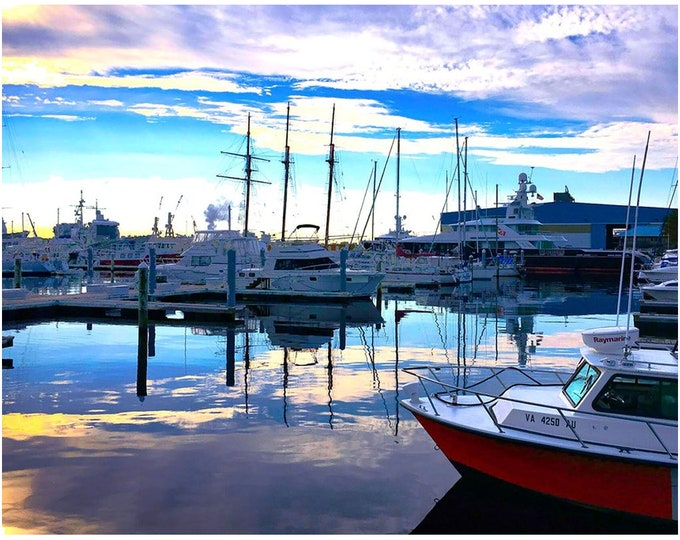 Featured listing image: Portsmouth Marina South End Interesting Sky And A Bright Red Boat