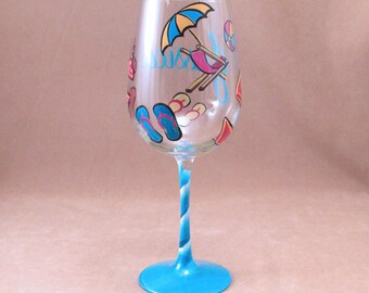 Beach Theme Hand Painted Wine Glass