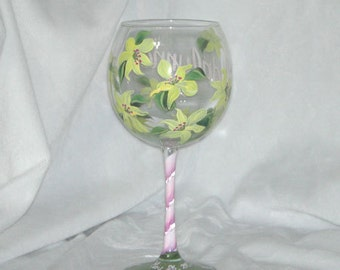 Lily Pattern Hand Painted Glass