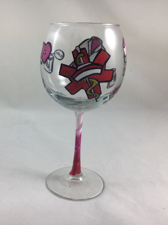 Personalized Hand Painted Wine Glass with Doctor or Nurse Theme