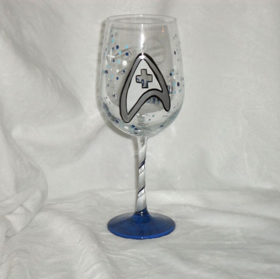 Star Trek Theme on Personalized Hand Painted Wine Glasses