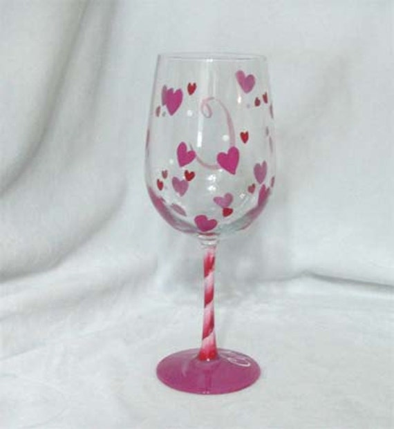 Red Hearts Hand Painted Wine Glass Can be Personalized