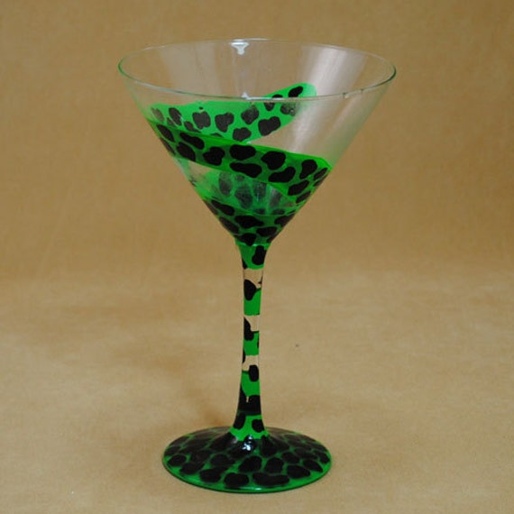 Cheetah Print Painted on Martini Glass