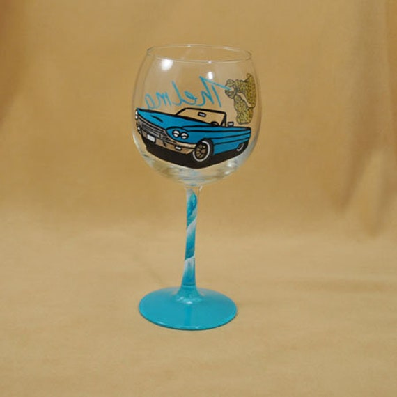 Cars Pattern Hand Painted Wine Glass